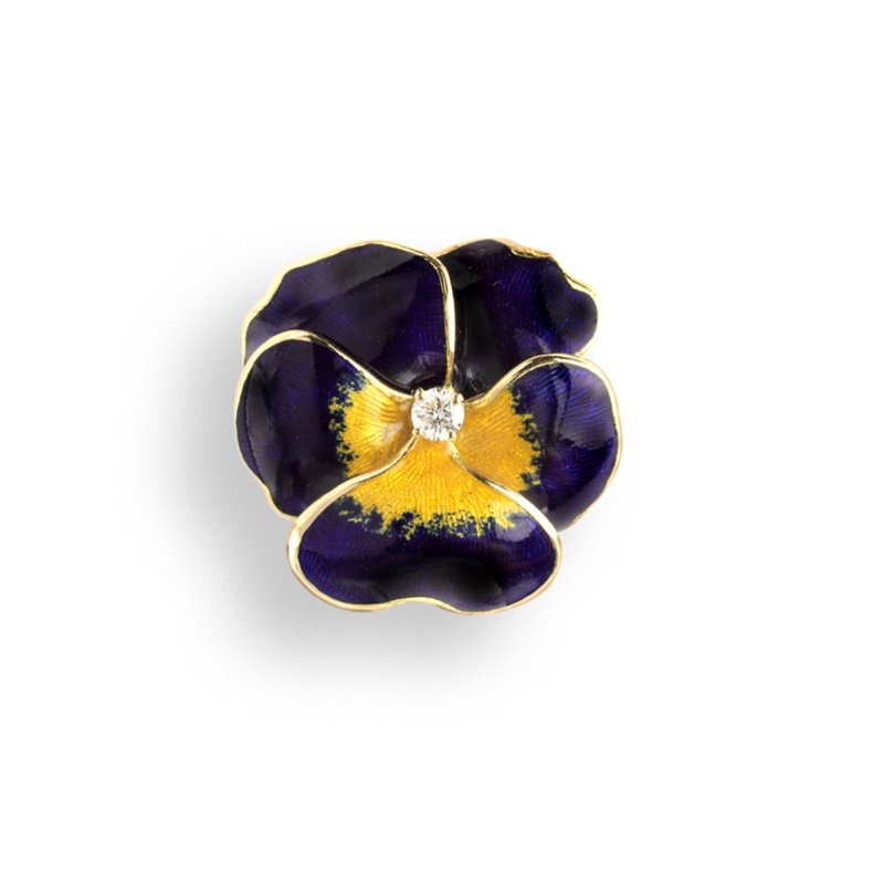 Nicole Barr Designs Purple Pansy Pendant.18K -Diamond