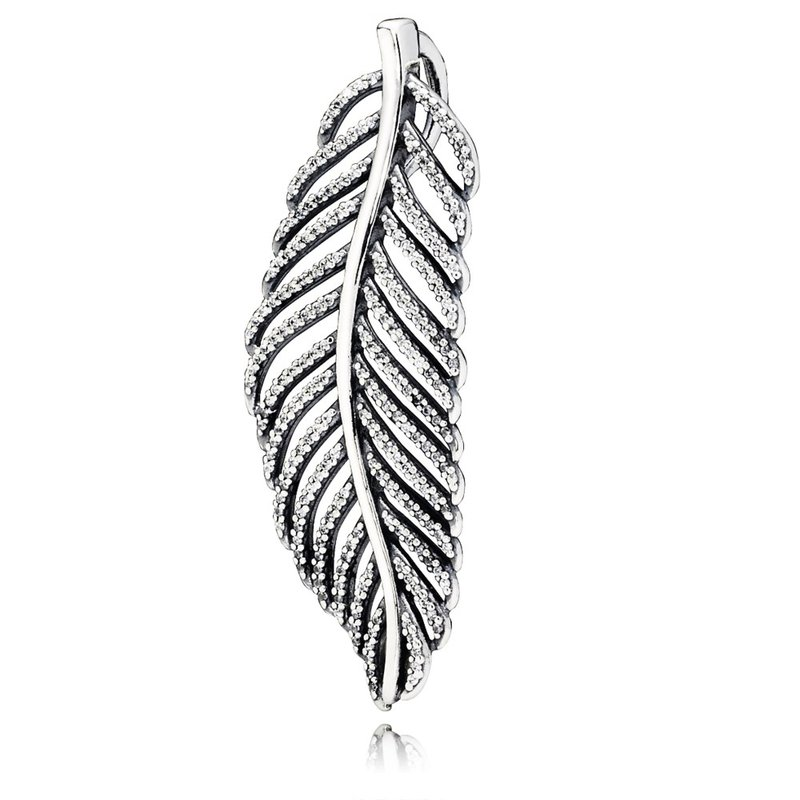 PANDORA Light As A Feather Pendant, Clear Cz