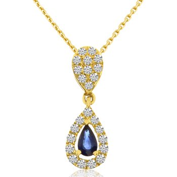 14k Yellow Gold Oval Sapphire And Diamond Movable Pendant