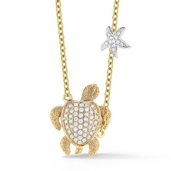 "14K Turtle Diamond Necklace 1/2"" diameter"