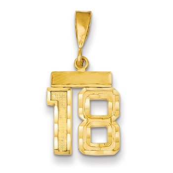 14k Small Diamond-cut Number 18 Charm
