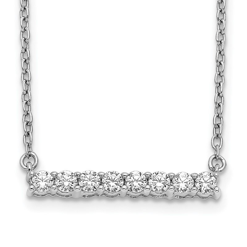 Quality Gold 14k White Gold Diamond Bar 18 inch Necklace