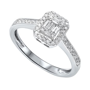 Diamond Rectangular Halo Ring in 14k White Gold (1/2ctw)