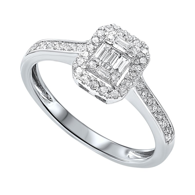 Gems One Diamond Rectangular Halo Ring in 14k White Gold (1/2ctw)