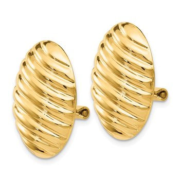 14k Polished Button Non-pierced Omega Back Earrings