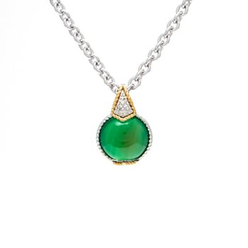 18kt and Sterling Silver Green Agate & Diamond Pendant with Chain