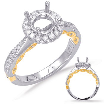 Yellow & White Gold Halo Engagement