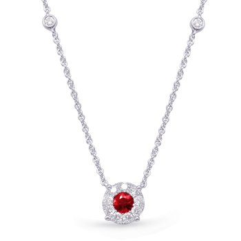 White Gold Diamond & Ruby Necklace