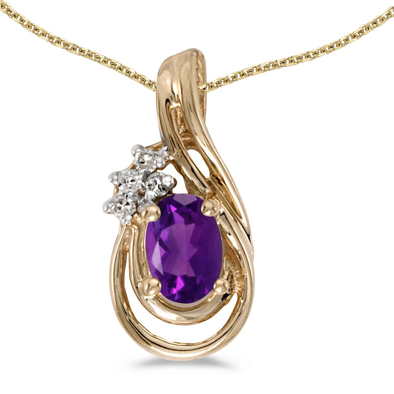 Color Merchants 14k Yellow Gold Oval Amethyst And Diamond Teardrop Pendant
