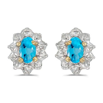 10k Yellow Gold Oval Blue Topaz And Diamond Earrings