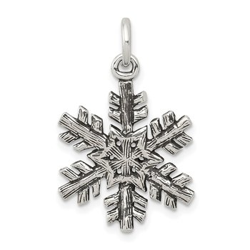 Sterling Silver Antiqued Snow Flake Charm