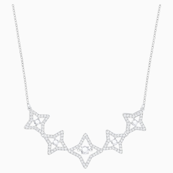 Sparkling Dance Star Necklace, Medium, White, Rhodium plating
