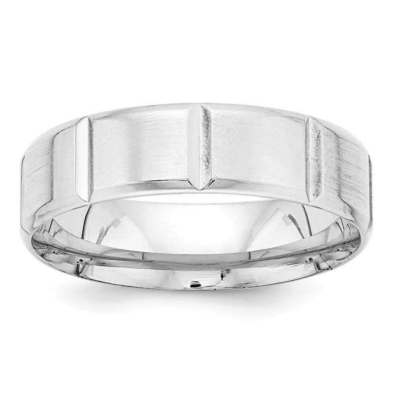 Quality Gold 14k White Gold Heavy Comfort Fit Fancy Band