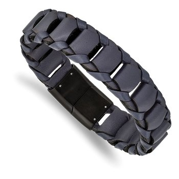Stainless Steel Brushed Black IP-plated Blue Leather 8.5in Bracelet