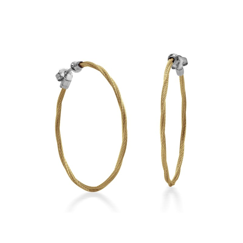 "ALOR Yellow Cable 1.5"" Hoop Earrings with 18kt White Gold"