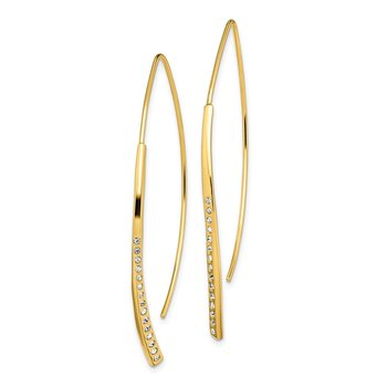Sterling Silver Gold-plated CZ Threader Earrings