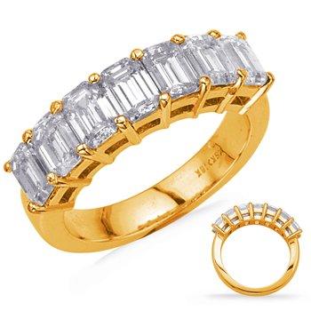 Yellow Gold Emerald Cut Diamond Band