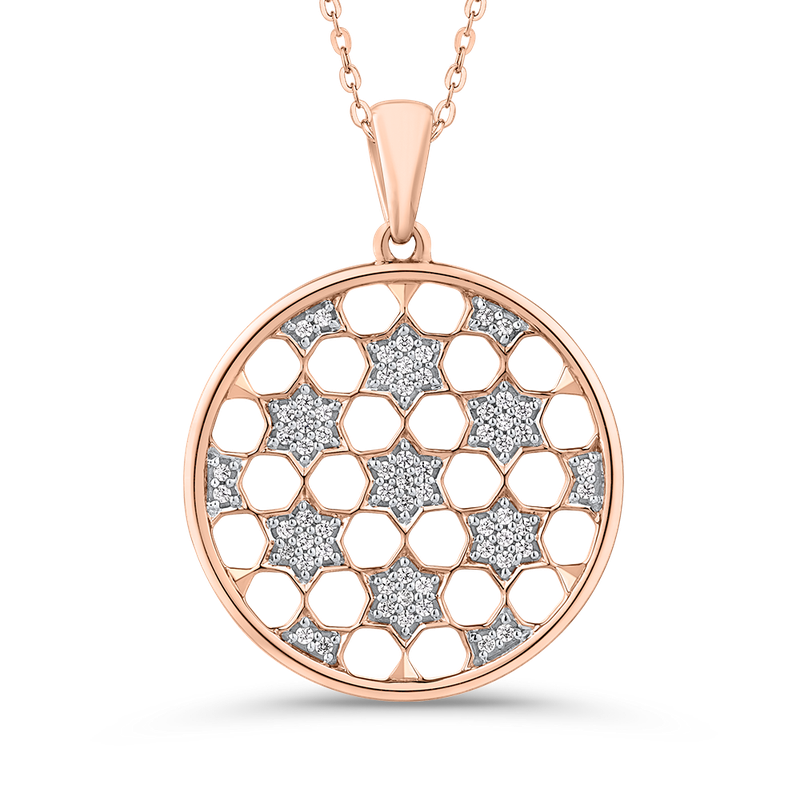 Essentials 10K Rose Gold 1/4 Ct Diamond Circle Pendant with Chain