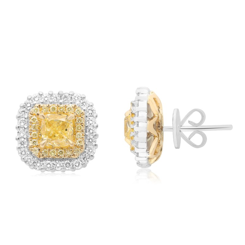 Roman & Jules Cushion Cut Double Halo Diamond Earrings