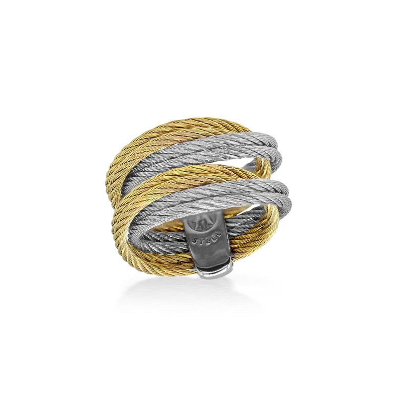 ALOR Grey & Yellow Cable Entwine Ring