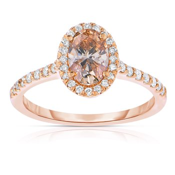 1ctw Oval Diamond Engagement Ring set in 14K Pink Gold with 3/4ct Natural Mocha Center