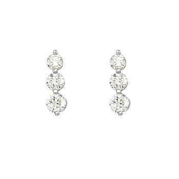 14k White Gold 1.50 ct 3 Stone Diamond Earring