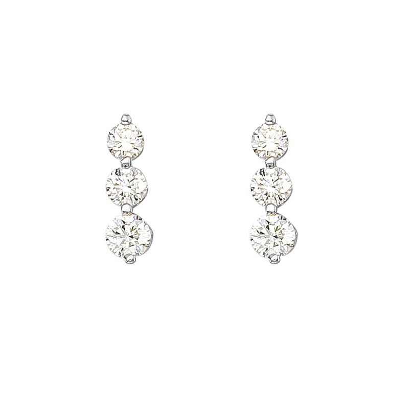 Color Merchants 14k White Gold 1.50 ct 3 Stone Diamond Earring