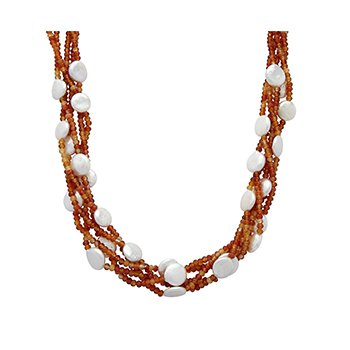 "Honora Sterling Silver 12-14mm White Coin Freshwater Cultured Pearl with Orange Chalcedonyx Four Row 22"" Necklace with Extender"