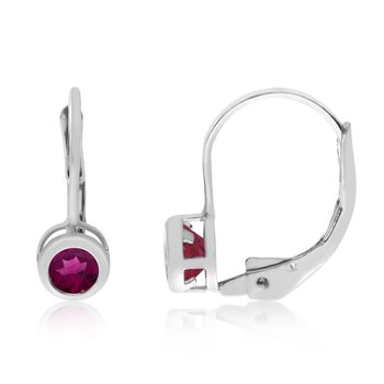 14k White Gold 4mm Ruby Bezel Leverback Earrings