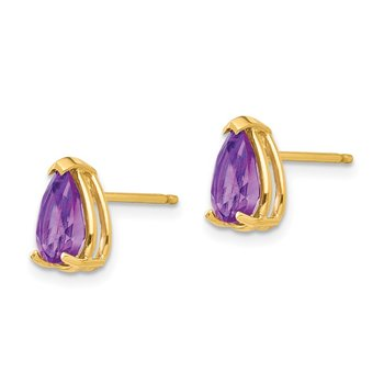 14k 8x5mm Pear Amethyst Earrings