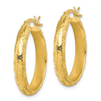 Sterling Silver Gold Flash Plated Patterned 4x25mm Hoop Earrings