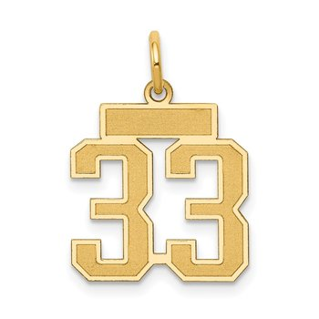 14k Small Satin Number 33 Charm