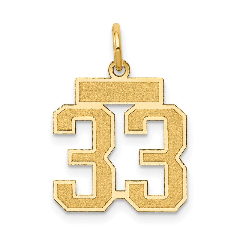 Quality Gold 14k Small Satin Number 33 Charm