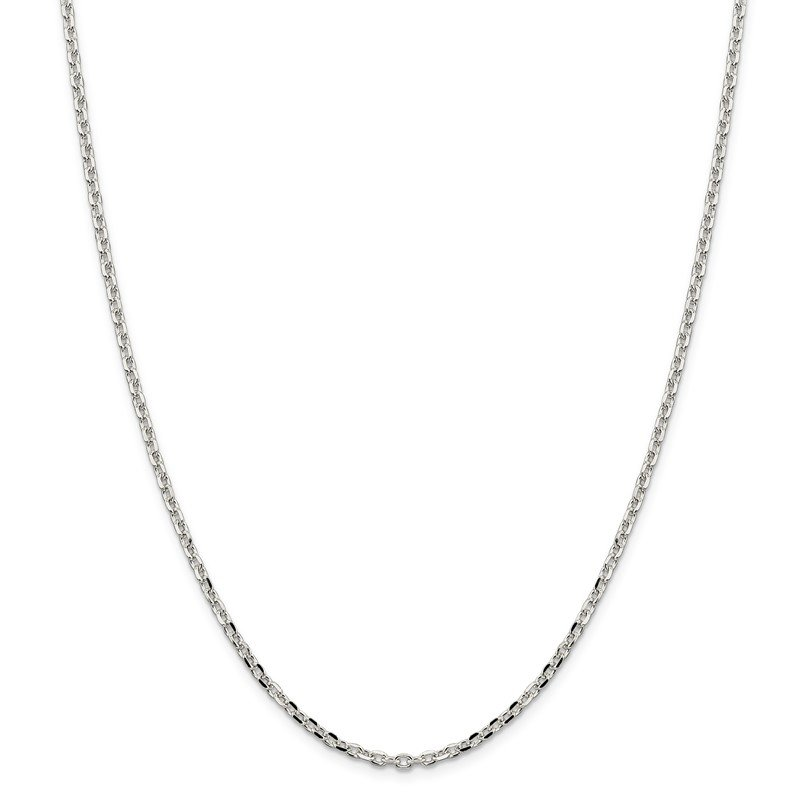 Quality Gold Sterling Silver 2.75mm Diamond-cut Forzantina Cable Chain