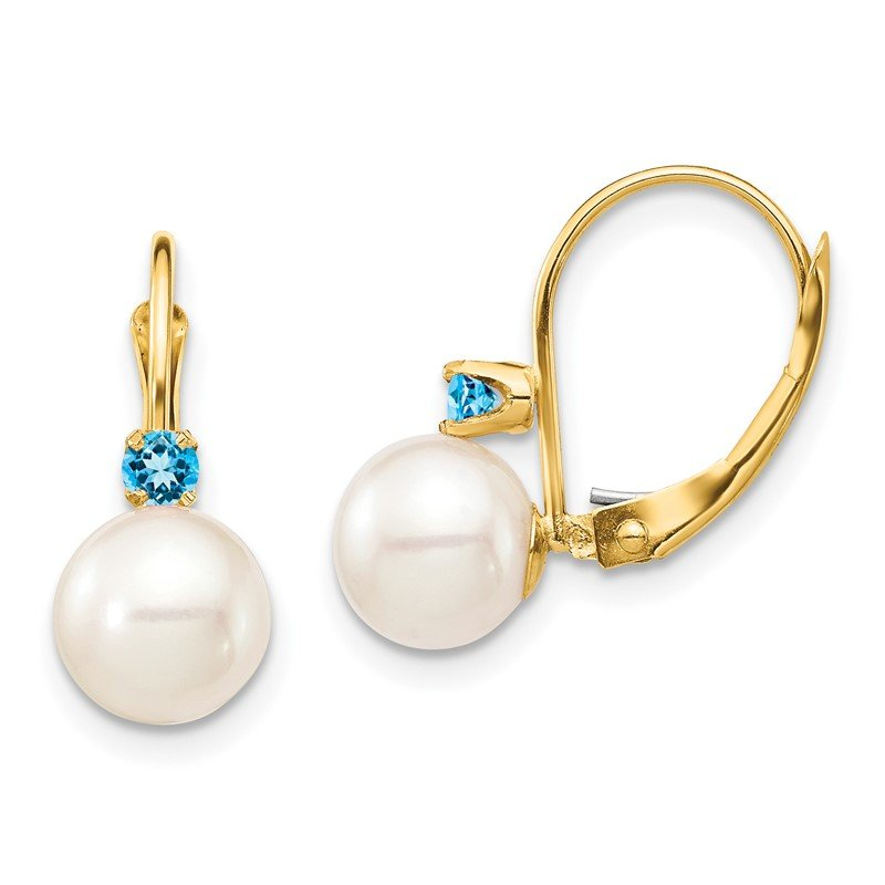 Quality Gold 14K 7-7.5mm White Round FWC Pearl Swiss Blue Topaz Leverback Earrings