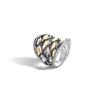 Legends Naga Saddle Ring in Silver and 18K Gold