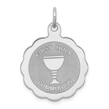 Sterling Silver Rhodium-plated First Holy Communion Disc Charm