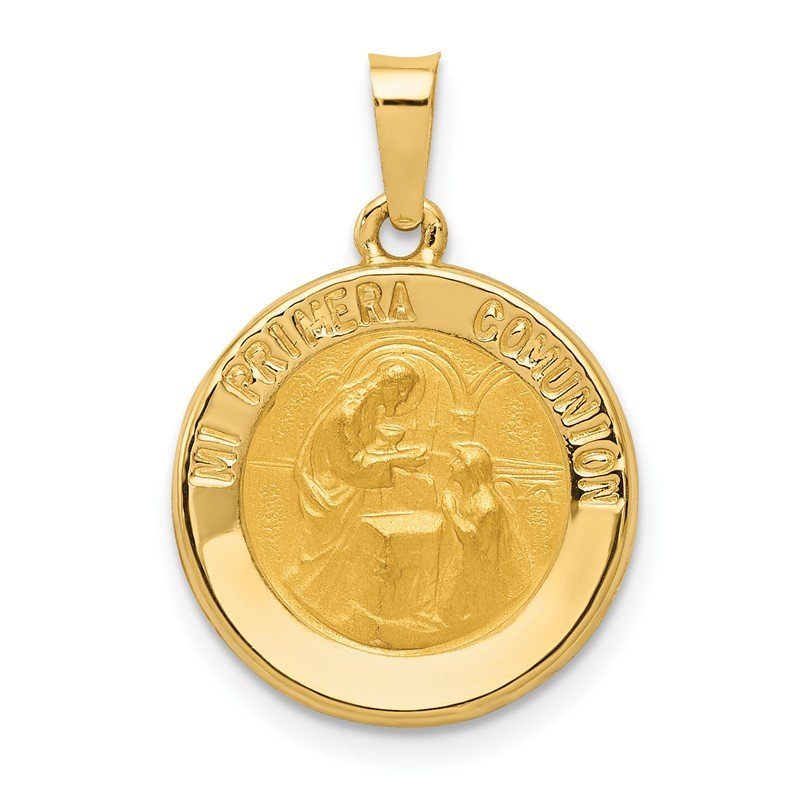 Lester Martin Online Collection 14k Polished/Satin Spanish 1st Communion Medal Hollow Pendant