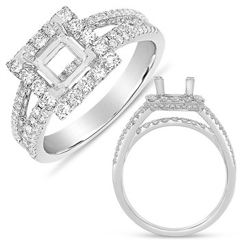 White Gold Halo Ring  5.5mm square