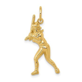 14k Female Baseball Batter Charm