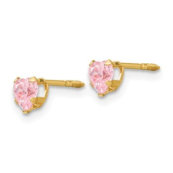 14k Madi K 4mm Pink CZ Heart Earrings