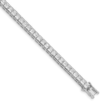 Sterling Silver Rhodium-plated CZ Tennis Bracelet