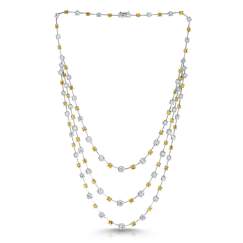 Cento &Amp; Yellow Sapphire Three Row Necklace