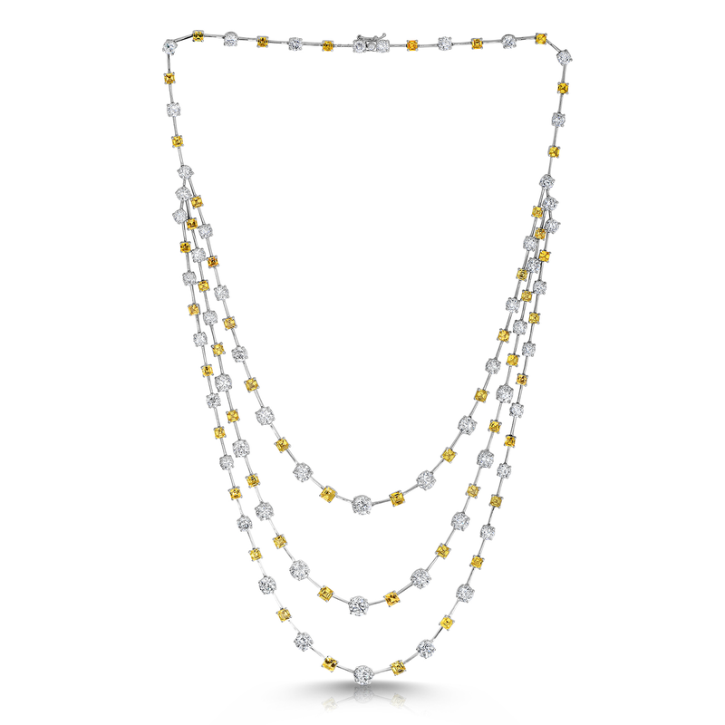 Roberto Coin Cento &Amp; Yellow Sapphire Three Row Necklace