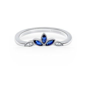 Blue Sapphire Boho Diamond Wedding Band