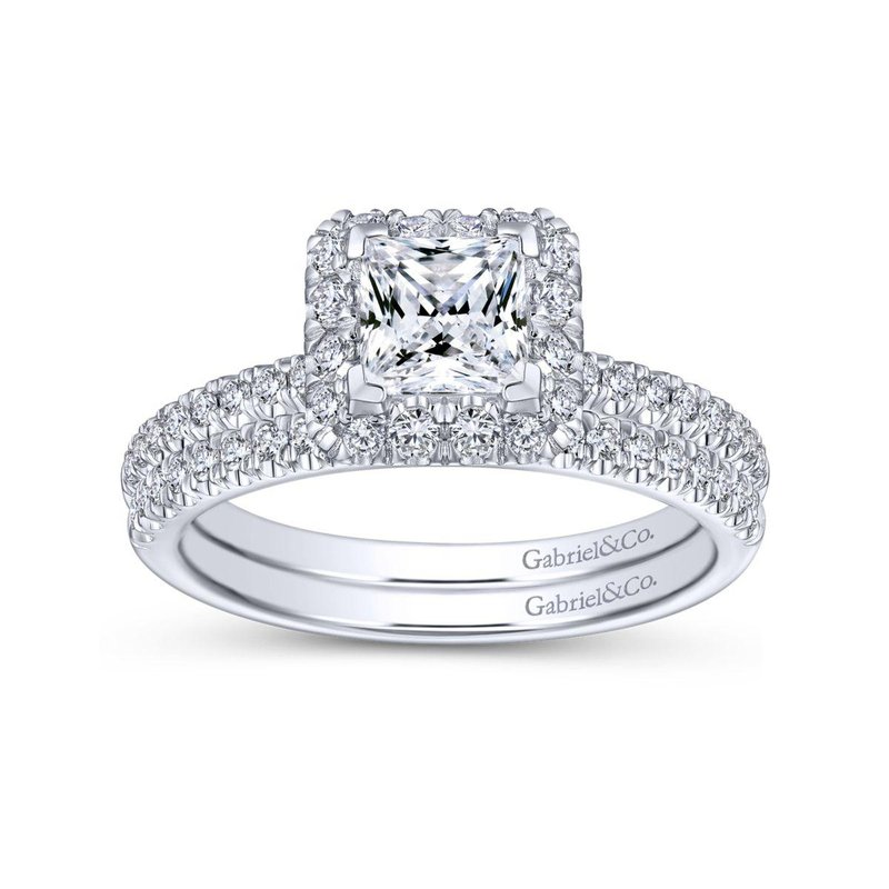 Gabriel Bridal Bestsellers 14K White Gold Princess Halo Diamond Engagement Ring