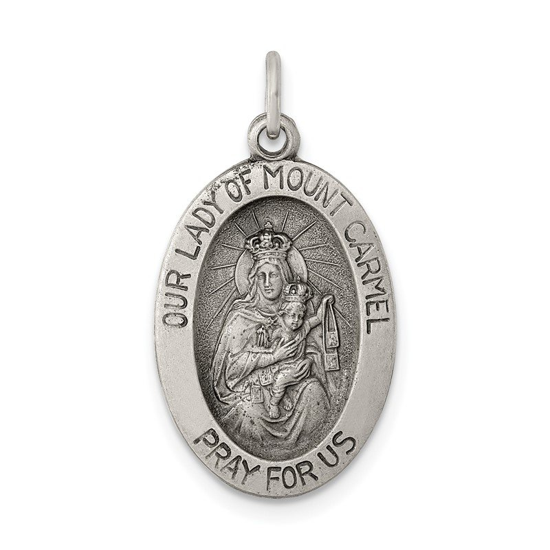Quality Gold Sterling Silver Antiqued Our Lady of Mt.Carmel Medal