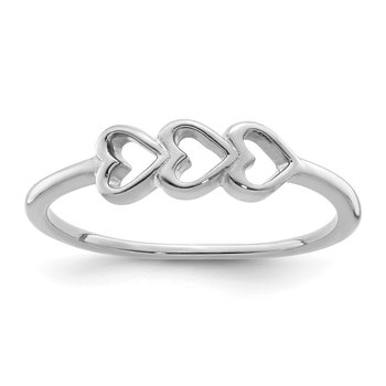 Sterling Silver Rhodium Plated Hearts Ring