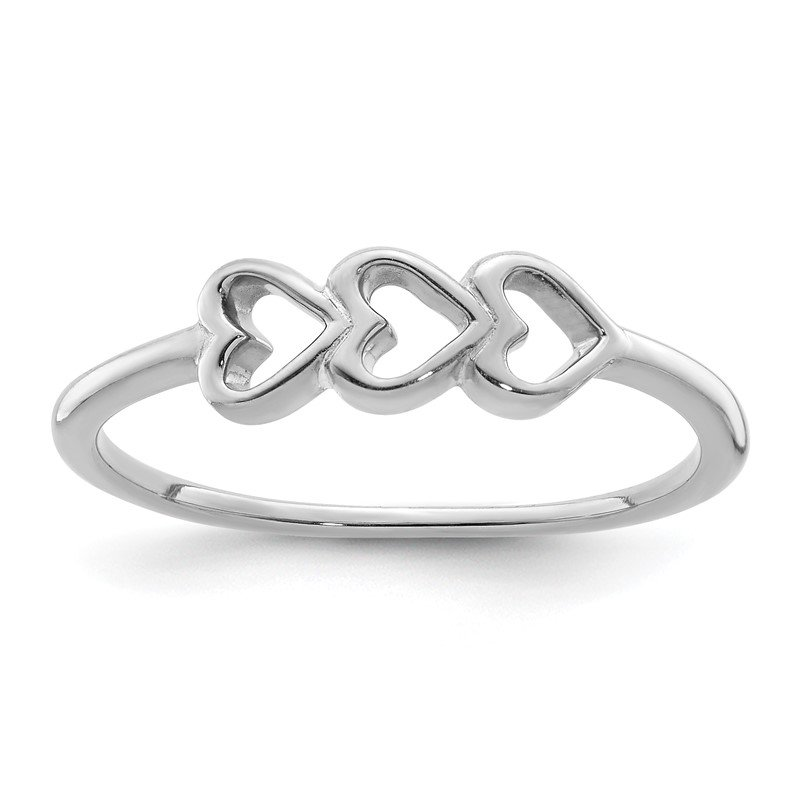 Quality Gold Sterling Silver Rhodium Plated Hearts Ring