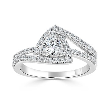 14 KT White gold with 3/8 Center Engagement ring (1.00 CTW)